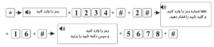 تنظیم رمز کاربر برای مثال رمز شماره 16را 5678می گذاریم. کلید * را برای 3نگه دارید. نکته: می توان تا 16رمز کاربری برای دستگاه تعریف کرد و برای وارد کردن شماره رمز از اعداد بین 01تا 16استفاده کرد. -6تنظیمات دستگاه لطفا کلید * را برای 3ثانیه نگه دارید